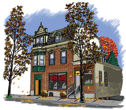 Penn's Pizza Building Architectural Illustration