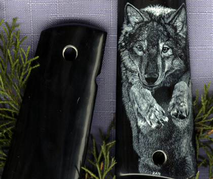Leaping Wolf Colt 1911A Grips In Black Buffalo Horn